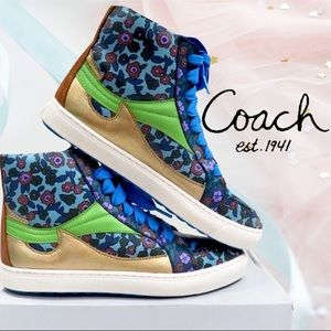 Coach Leather Floral Hi Top Mist/Gold Sneakers 9.5